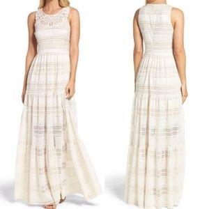 Eliza J Cream Ivory Tiered Lace Maxi Boho Dress